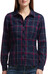 Icebreaker W's Laurel LS Shirt Plaid Admiral/Raspberry